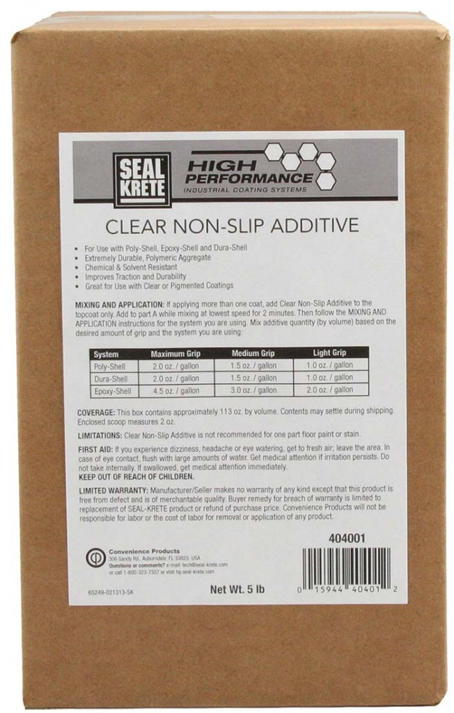 Clear Non Slip Additive Seal Krete High Performance Coatings